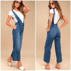 Free People A line flare Overall Med Wash sz4